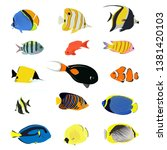 isolated sea fish. set of... | Shutterstock .eps vector #1381420103