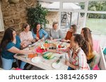 small group of female friends... | Shutterstock . vector #1381426589