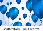 glossy blue color flying helium ... | Shutterstock .eps vector #1381426796