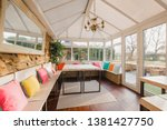Small photo of Wide angle view of the interior of a modern looking conservatory.