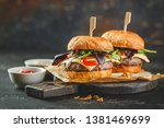 two delicious homemade burger... | Shutterstock . vector #1381469699