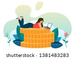 the concept of earning online.... | Shutterstock . vector #1381483283
