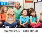 group of elementary pupils in... | Shutterstock . vector #138148460