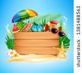 blank wood board with copyspace ... | Shutterstock .eps vector #1381488563