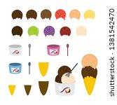 ice cream creation set. vector. | Shutterstock .eps vector #1381542470