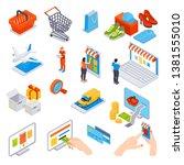 online shopping isometric set... | Shutterstock .eps vector #1381555010