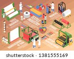isometric textile factory... | Shutterstock .eps vector #1381555169