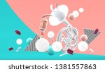 french horn and colorful ball... | Shutterstock .eps vector #1381557863
