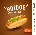 vector hot dog promotion poster ... | Shutterstock .eps vector #1381629449
