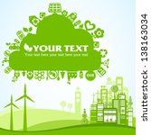green eco town placard with... | Shutterstock .eps vector #138163034