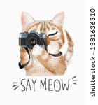 meow slogan with cartoon cute... | Shutterstock .eps vector #1381636310