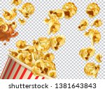 popcorn with caramel vectorized ... | Shutterstock .eps vector #1381643843