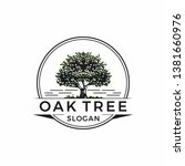 vintage oak tree logo design | Shutterstock .eps vector #1381660976