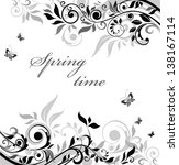 Stock vector black and white floral banner 138167114