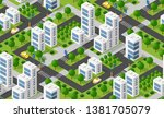 urban isometric area with... | Shutterstock .eps vector #1381705079