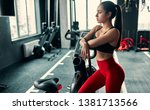 attractive sporty woman in gym. ... | Shutterstock . vector #1381713566