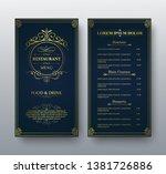 vector restaurant menu gold... | Shutterstock .eps vector #1381726886