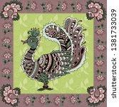 indian kalamkari style peacock... | Shutterstock .eps vector #1381733039