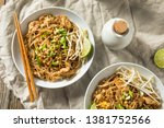 homemade chicken pad thai with... | Shutterstock . vector #1381752566