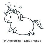 cute fat unicorn simple doodle... | Shutterstock .eps vector #1381770596