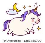 cute fat unicorn with purple... | Shutterstock .eps vector #1381786700
