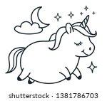 cute fat unicorn doodle cartoon ... | Shutterstock .eps vector #1381786703