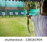 archer man pulls the bowstring... | Shutterstock . vector #138181904