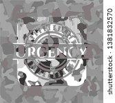 urgency grey camo emblem.... | Shutterstock .eps vector #1381832570