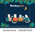 funny cats reading books on... | Shutterstock .eps vector #1381851563