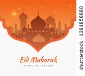 eid mubarak greeting card... | Shutterstock .eps vector #1381858880