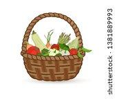 harvest vegetables in a wicker...   Shutterstock .eps vector #1381889993