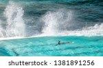 swimmer enjoys beautiful pool...   Shutterstock . vector #1381891256