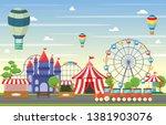 amusement park circus carnival... | Shutterstock .eps vector #1381903076