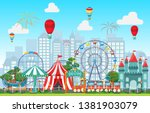 amusement park circus carnival... | Shutterstock .eps vector #1381903079