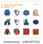 air pollution icon set for web... | Shutterstock .eps vector #1381907510
