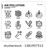 air pollution icon set for web... | Shutterstock .eps vector #1381907513