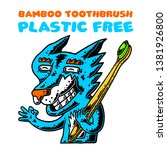fox. bamboo toothbrush. fox...   Shutterstock .eps vector #1381926800