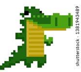 pixel art crocodile standing... | Shutterstock .eps vector #1381943489