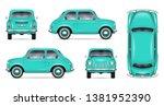small retro car vector mockup... | Shutterstock .eps vector #1381952390