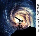 silhouette of  telescope   Shutterstock . vector #138195848