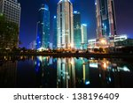 the night view of the lujiazui...   Shutterstock . vector #138196409