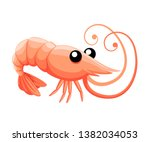 cute shrimp. cartoon animal... | Shutterstock .eps vector #1382034053