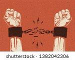 human hands break the chain.... | Shutterstock .eps vector #1382042306