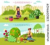 gardeners horizontal banners.... | Shutterstock .eps vector #1382099429
