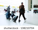 traveling people at the airport - stock photo