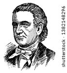 Lyman Beecher, 1775-1863, he was a Presbyterian minister and an American temperance society co-founder, vintage line drawing or engraving illustration