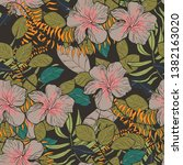 moody floral tropical pattern... | Shutterstock .eps vector #1382163020