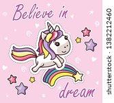 kawaii unicorn on rainbow... | Shutterstock .eps vector #1382212460