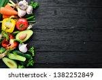 fresh vegetables. avocado ... | Shutterstock . vector #1382252849