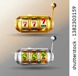 slot machine vector set. golden ... | Shutterstock .eps vector #1382303159